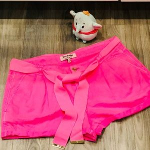 Juicy Couture neon Pink Chino Shorts Gold accents